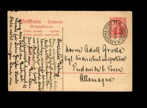 Antwort-Ganzsache Lausanne-Gare 1911 nach Pudewitz/Posen