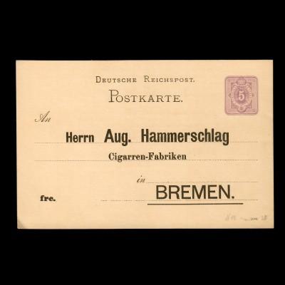 Zigarren Fabrik, Antwort-Werbekarte nach Bremen
