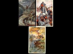 3x farbige Ansichtskarte Rotes Kreuz, Kriegshilfsbüro