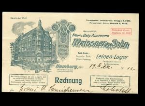 Braut und Baby Aussteuern, Hamburg 1912, Rechnung