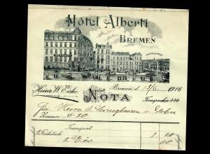Hotel Alberti Rechnung Bremen 1916