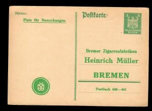 Ganzsache Antwort an Bremer Zigarrenfabrik