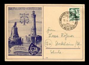 Postkarte Lindauer-Herbstwoche 1947 mit Sonderstempel nach Stockheim, Leuchtturm