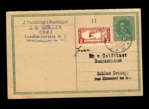 Ganzsache Graz nach Schloss Sonnegg 1919