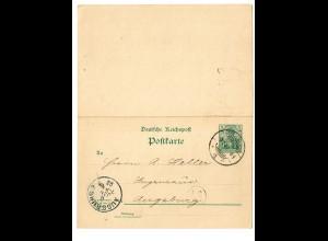 Ganzsache mit Antwortkarte Braunschweig-Augsburg 1902, Text: Lotterie
