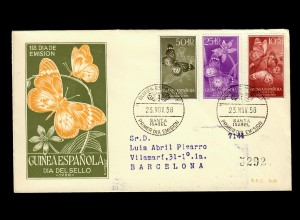 Santa Isabel 1958 FDC, Flowers and Papillion, butterfly to Barcelona