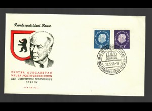 FDC Bundespräsident Heuss 1959 Heibronn