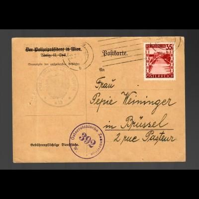 Postkarte Polizeidirektion Wien nach Brüssel, Zensur 1946, EF MiNr. 755