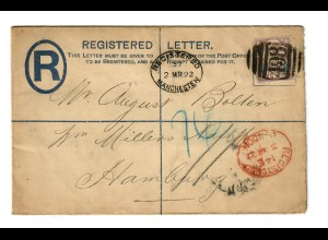 Registered letter Manchester 1892 to Hamburg via London, stamp PERFIN
