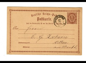 Ganzsache Ronneburg nach Zittau 1874