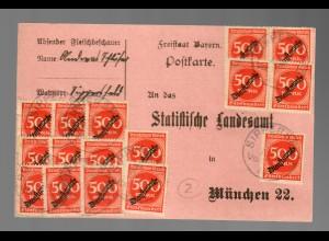 Postkarte Fleischbeschauer Sippersfeld nach München 1923