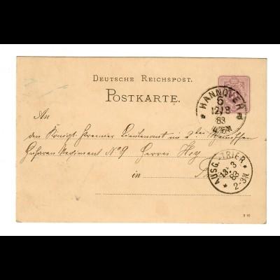 Hannover 1883, Ganzsache nach Trier