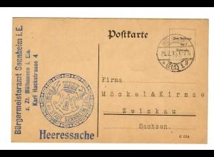 Postkarte Heeressache 1915 Bürgermeisteramt Sennheim i.E. /Mühlhausen i.Elsass