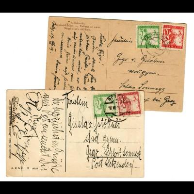 2x post card Marbor und Pettau 1919 nach Graz, Schloss Sonneck