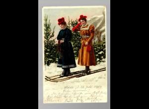 Ansichtskarte Ski-Fahrer 1901 von Molde nach Dresden