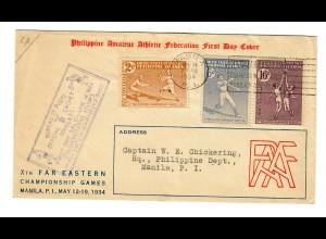 Philippine Athletic Federation 1934, FDC to Manila,10th far eastern Championship
