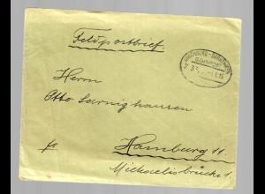 Feldpostbrief mit Bahnpoststempel Angerburg-Darkehmen 1915 nach Hamburg