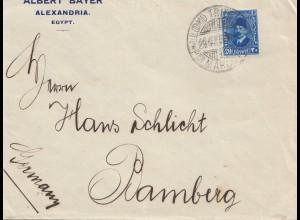 Ägypten/Egypte: 1936 Brief von Alexandria nach Bamberg