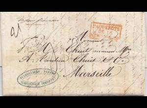 Ägypten/Egypte: 1852 Alexandria nach Marseille, Paquebots