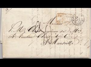 Egypte: 1852 Alexandria nach Marseille, Paquebots