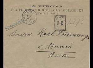 Ägypten/Egypte: 1898 Einschreiben Alexandria nach München