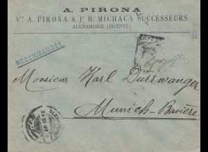 Ägypten/Egypte: Einschreiben 1897 Alexandria nach München