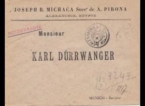 Ägypten/Egypte: 1902 Einschreiben Alexandria nach München