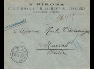 Ägypten/Egypte: 1897 Einschreiben Alexandria nach München