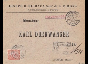 Ägypten/Egypte: 1905 Einschreiben Alexandria nach München