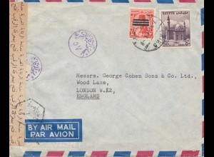 Ägypten/Egypte: 1948 Brief nach England als Luftpost, Zensur