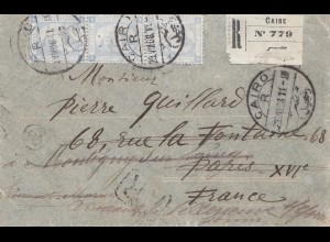 Ägypten/Egypte: 1908 Einschreiben Cairo nach Frankreich