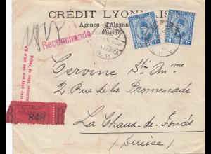 Ägypten/Egypte: 1933: Einschreiben Alexandria in die Schweiz, Perfin
