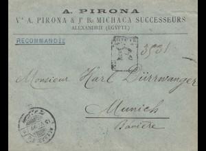 Ägypten 1897: Einschreiben Alexandria nach München