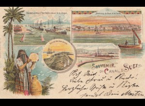 Ägypten/Egypte: 1901 Ansichtskarte Souvenir du Canal d. Suez