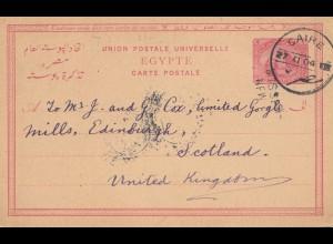 Ägypten/Egypte: 1904: Ganzsache von Cairo nach Schottland/UK, Missent