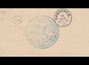 Ägypten/Egypte: 1897: Brief von Alexandria nach Bamberg