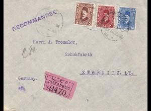 Ägypten/Egypte: 1930: Einschreiben Alexandria nach Zwoenitz