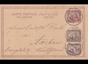 Ägypten/Egypte: 1898: Ganzsache Cairo nach Aachen