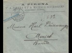 Ägypten/Egypte: Einschreiben Alexandria 1897 nach München