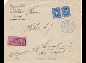 Ägypten/Egypte: 1929: Einschreiben Cairo nach Chemnitz