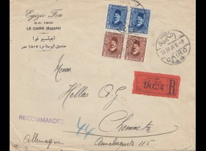 Ägypten/Egypte: 1930: Einschreiben Cairo nach Chemnitz