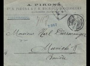 Ägypten/Egypte: 1897: Einschreiben Alexandria nach München