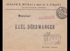 Ägypten/Egypte: Einschreiben Alexandria 1903 nach München