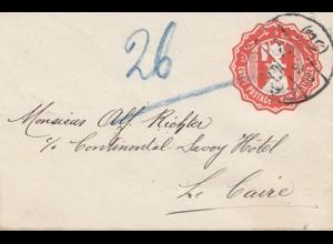 Ägypten/Egypte: 1922: Ganzsache Continental-Savoy nach Cairo