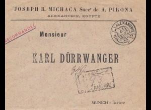 Ägypten: 1903: Einschreiben Alexandria nach München
