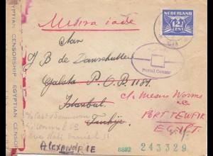 Ägypten/Egypte: 1943: Niederlande über Istanbul nach Alexandria, Zensur