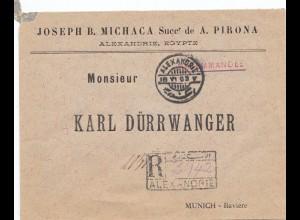 Ägypten/Egypte: 1903: Einschreiben Alexandria nach München