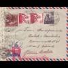 Ägypten/Egypte: 1955 Alexandria als Luftpost nach Wien, Zensur