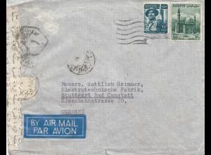 Ägypten/Egypte: 195x: Brief als Luftpost nach Stuttgart, Zensur