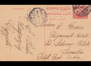 Ägypten/Egypte: 1913: Ganzsache nach Sumatra, Dutsch East India